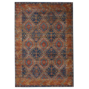 Prisma Quillen Medallion Blue and Red 8 Ft. 10 In. x 11 Ft. 9 In. Area Rug