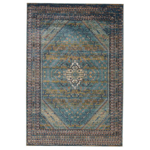 Prisma Selah Medallion Blue and Green 7 Ft. 6 In. x 9 Ft. 6 In. Area Rug