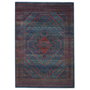 Prisma Selah Medallion Blue and Red 8 Ft. 10 In. x 11 Ft. 9 In. Area Rug