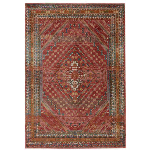 Prisma Selah Medallion Red and Gold 8 Ft. 10 In. x 11 Ft. 9 In. Area Rug