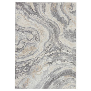 Ferris Gatlin Abstract Gray and Cream 8 Ft. x 10 Ft. Area Rug