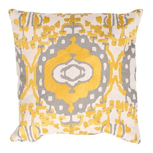 Luli Sanchezs Natural and Gray 18-Inch Decorative Pillow