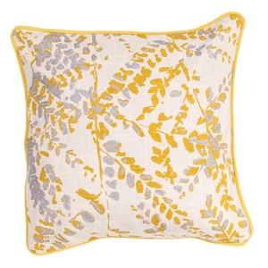 Luli Sanchezs Natural and Yellow 18-Inch Decorative Pillow