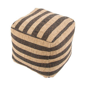 Mason Ivory, White and Black 16-Inch Cube Pouf