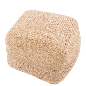 Saba Tan and Taupe 18-Inch Cylindrical Pouf