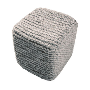 Scandinavia Gray and Multi-Colored 16-Inch Cube Pouf