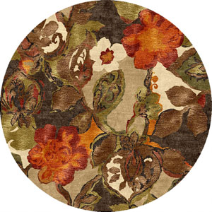 Blue Brown and Orange Round: 10 Ft. x 10 Ft. Rug