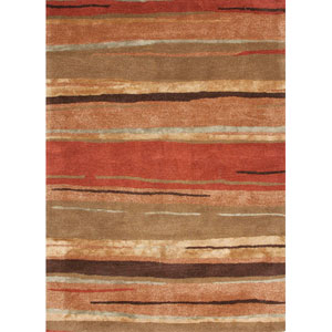 Baroque Orange and Brown Rectangular: 5 Ft. x 8 Ft. Rug