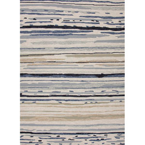 Colours Ivory and Blue Rectangular: 7 Ft. 6 In. x 9 Ft. 6 In. Rug