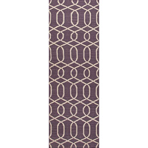 Urban Bungalow Purple and Ivory Runner: 2 Ft. 6 In. x 8 Ft. Rug