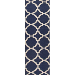 Maroc Ivory and Light Blue Runner: 2 Ft. 6 In. x 8 Ft. Rug