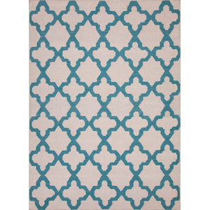 Maroc Light Ivory and Blue Rectangular: 5 Ft. x 8 Ft. Rug