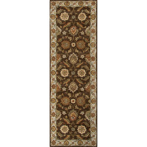 Mythos Brown and Ivory Runner: 4 Ft. x 16 Ft. Rug