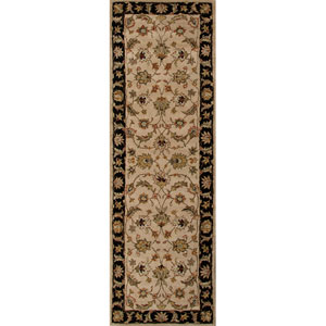 Mythos Taupe and Black Runner: 2 Ft. 6 In. x 6 Ft. Rug