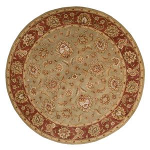 Mythos Green and Red Round: 10 Ft. x 10 Ft. Rug