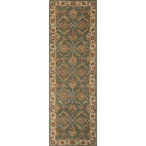 Mythos Green and Ivory Runner: 3 Ft. x 12 Ft. Rug