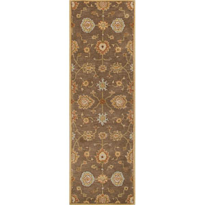 Poeme Brown and Red Runner: 2 Ft. 6 In. x 12 Ft. Rug