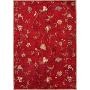 Poeme Red and Ivory Rectangular: 5 Ft. x 8 Ft. Rug
