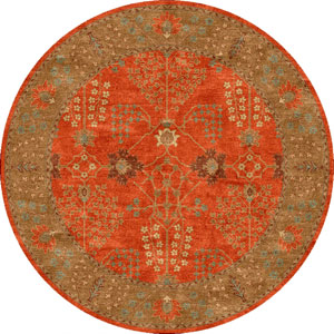 Poeme Orange and Brown Round: 10 Ft. x 10 Ft. Rug