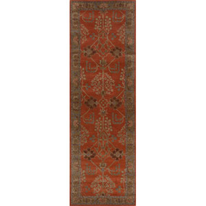 Poeme Orange and Brown Runner: 2 Ft. 6 In. x 12 Ft. Rug