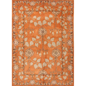 Poeme Orange and Green Rectangular: 5 Ft. x 8 Ft. Rug