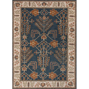 Poeme Blue Ivory Rectangular: 5 Ft. x 8 Ft. Rug
