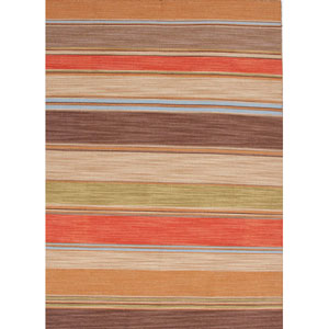 Pura Vida Red and Brown Rectangular: 5 Ft. x 8 Ft. Rug