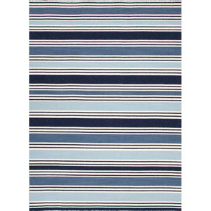 Pura Vida Ivory and Blue Rectangular: 5 Ft. x 8 Ft. Rug
