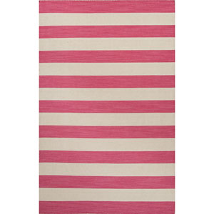 Pura Vida Pink and Ivory Rectangular: 5 Ft. x 8 Ft. Rug