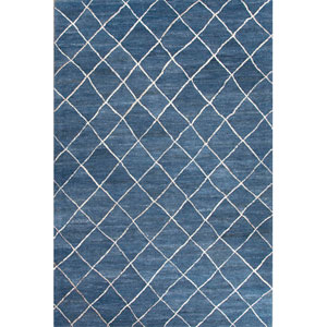 Riad Blue and Ivory Rectangular: 8 Ft. x 10 Ft. Rug