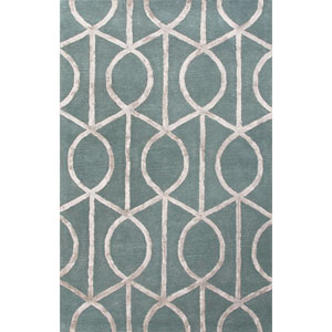 City Gray and Blue Rectangular: 5 Ft. x 8 Ft. Rug