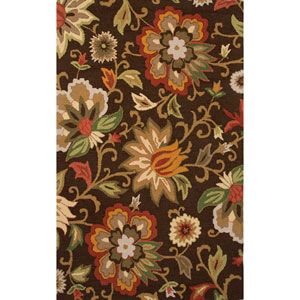 Hacienda Brown and Red Rectangular: 5 Ft. x 8 Ft. Rug