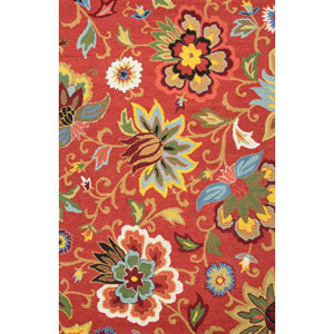 Hacienda Red and Blue Rectangular: 5 Ft. x 8 Ft. Rug