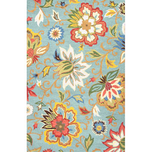 Hacienda Blue Multi-Colored Rectangular: 5 Ft. x 8 Ft. Rug