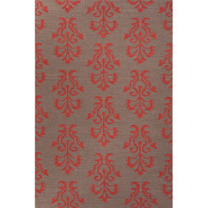 Urban Bungalow Gray and Red Rectangular: 5 Ft. x 8 Ft. Rug