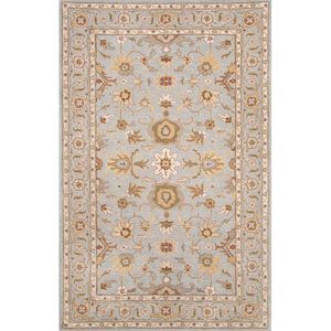 Poeme Blue Brown Rectangular: 5 Ft. x 8 Ft. Rug