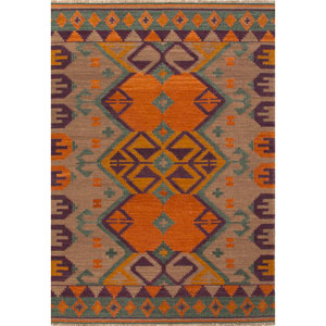 Anatolia Orange and Purple Rectangular: 5 Ft. x 8 Ft. Rug