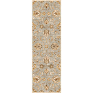 Mythos Blue and Ivory Runner: 4 Ft. x 16 Ft. Rug
