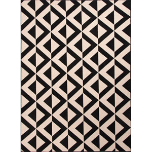 Patio Light Ivory and Black Rectangular: 5 Ft. 3 In. x 7 Ft. 6 In. Rug