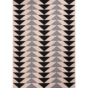 Patio Ivory and Light Black Rectangular: 7 Ft. 11 In. x 10 Ft. Rug