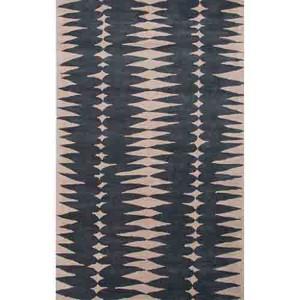 Luli Sanchez LST27 Dark Blue and Dark Ivory Rectangular: 5 Ft. x 8 Ft. Rug