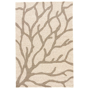 Coastal Lagoon Coral White Asparagus Rectangular: 7 Ft. 6 In. x 9 Ft. 6 In. Rug