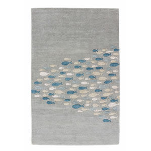 Coastal Resort Schooled Celestial Blue Rectangular: 5 Ft. x 8 Ft. Rug