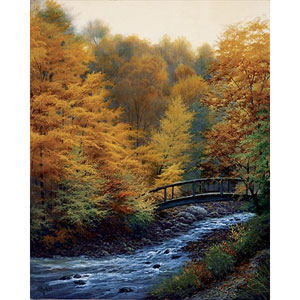 Autumn Stream by Charles White: 32 x 40 Giclee Canvas