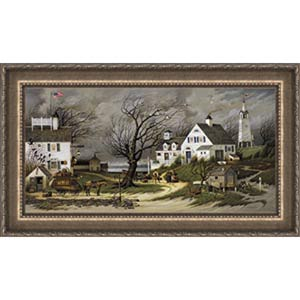 Checking in on Old Martha's Vineyard by Charles Wysocki: 16.5 x 33 Framed Canvas Limited Edition