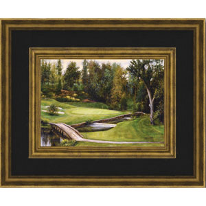 Little Bridge of a Golf Course by Donny Finley: 20 x 16 Framed Giclee Canvas
