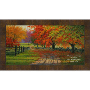Path Through The Maples, Featuring Psalm 25:4 by Charles White, 9 x 18 In. Framed Art