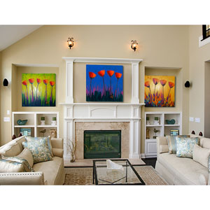 Contemporary Floral by Jeff Boutin, Set of Three 24 x 24 In. Canvas Wall Art