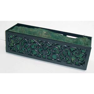 Charleston Black 36-Inch Planter With Green Coco Liner