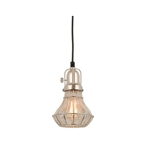 Lani Polished Nickel 6-Inch One-Light Pendant with Clear Crackle Glass